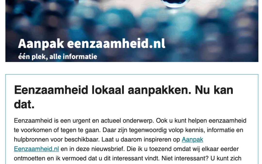 Eerste nieuwsbrief Aanpak eenzaamheid.nl